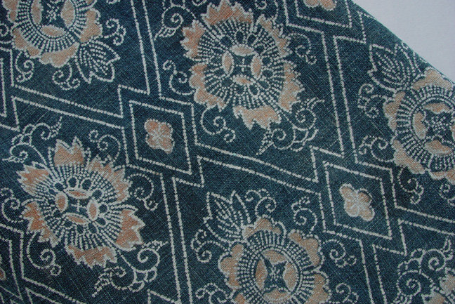 Antique Japanese Fabric, Stencil Dye, Beni and Aizome