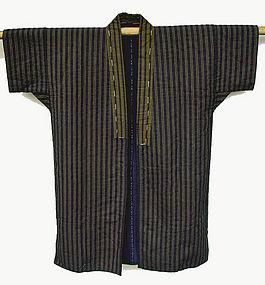 Japanese Cotton Jacket, Stripes, Sashiko Stitches