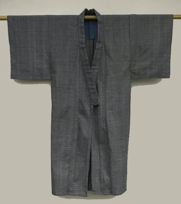 Vintage Japanese Kasuri Kimono with Small Pattern