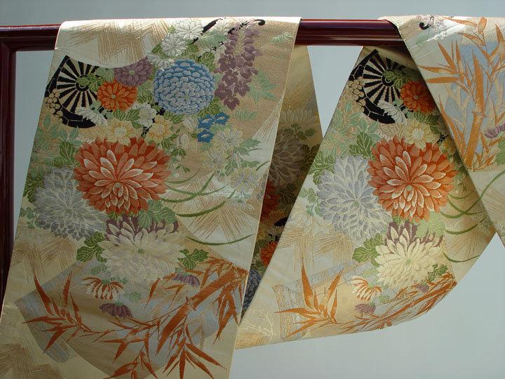 Japanese Silk Maru Obi with Flowers, Fans, Palace Cart