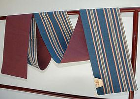 Japanese Cotton Obi, Stripes, New Condition