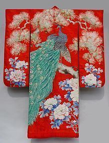 Antique Uchikake, Peacocks on Pine Branch, Peony