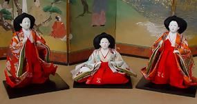 Japanese Hina Dolls, Three Jyokan, Ladies-in-waiting