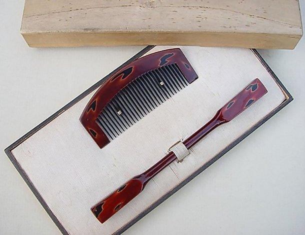 Japanese Antique Kanzashi Lacquer Hair Comb and Pin