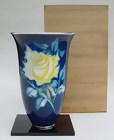 Large Ando Cloisonne Vase, Yellow Rose, Silver Rim