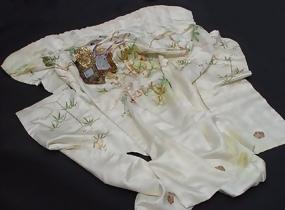 White Silk Japanese Uchikake Wedding Gown, Embroidery