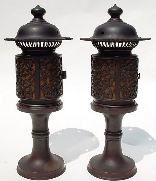 Japanese Old Bronze Lanterns