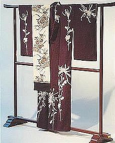 Purple Silk Kimono with Chrysanthemums