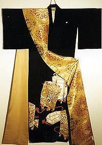 Black Silk Kimono with Shell Boxes