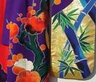 Red Japanese Wedding Gown,Uchikake Kimono, blue bamboos
