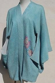 Japanese short kimono Jacket, Blue Tie-Dye Haori