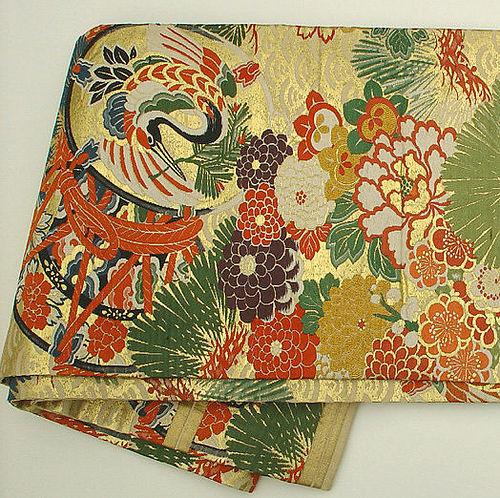 Japanese Silk Obi, Tsuzumi (drums), Cranes, Flowers