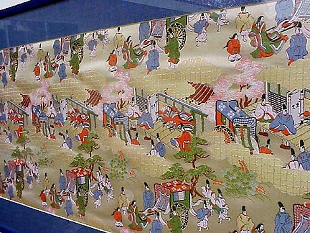 Picture Framed Nishijin Silk, Heian Court