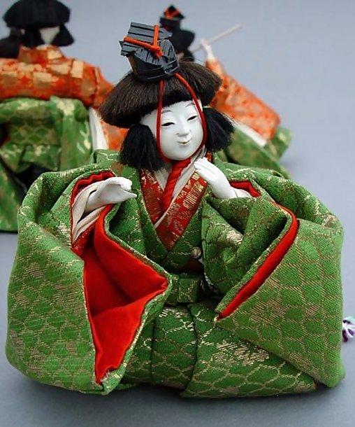 Fine Japanese Hina dolls, the Musicians Ningyo