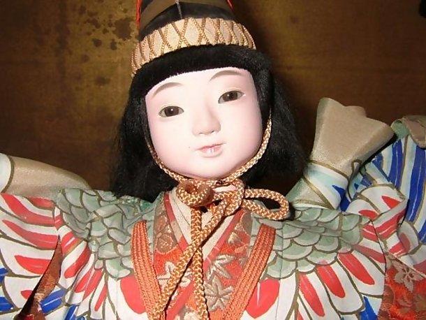 Large Antique Japanese Sanbaso Dancing Crane Doll