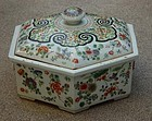 Old Chinese hexagonal Covered Deep Dish