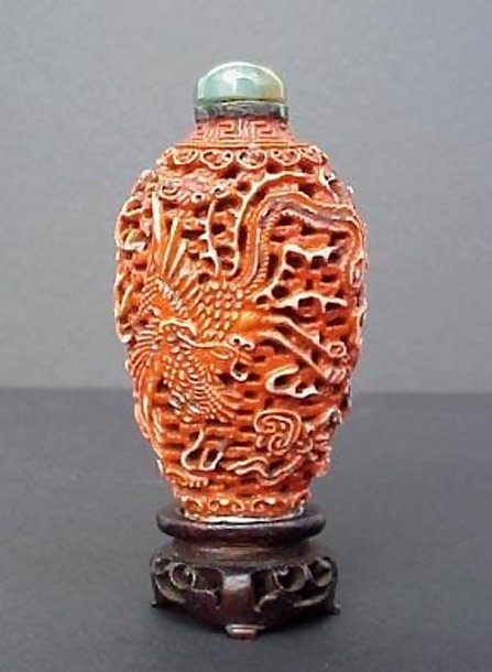 Antique Snuff Bottle Reticulated Dragon Phoenix