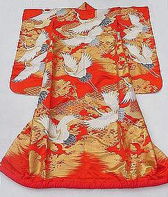 Beautiful Red Uchikake Wedding Gown, Crane