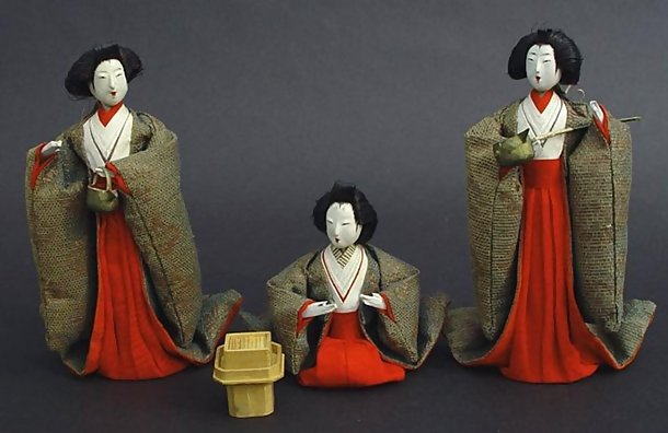 Unique Japanese Folk Hina Dolls,  Ladies-in-Waiting