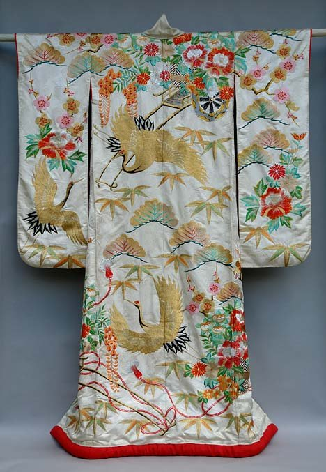 Japanese Wedding Gown, Flowers Cranes Cart Embroidery