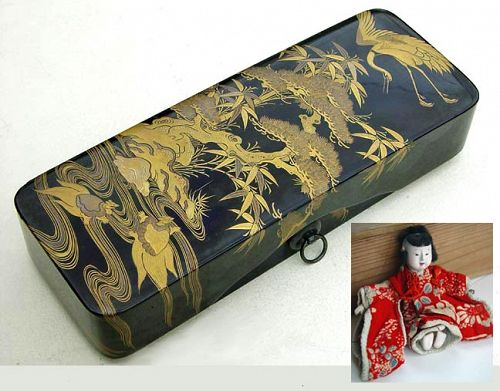 Mame Ichimatsu Doll in Antique Japanese Lacquer Box