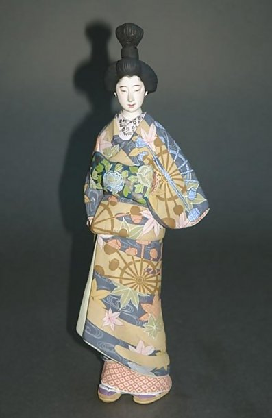 Old Hakata Ningyo, Oiran Geisha Doll in Kosode