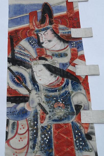 Antique Japanese Nobori Banner, Tomoe Gozen, Yoshinaka
