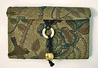 Antique Embroidered Japanese Purse with Elephant Ojime