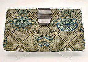 Antique Silk Purse, Superb Embroidery, Silver Clasp
