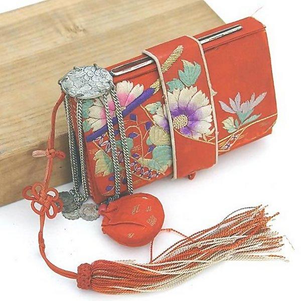 Red Antique Japanese Tissue Holder with Kanzashi