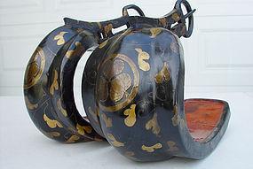 Abumi Japanese Stirrups - Tokugawa Shogun Family Crests