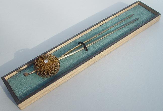 Antique Kanzashi Silver Hairpin with Gold Chrysanthemum