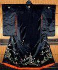 Antique Black Silk Japanese Wedding Kimono, embroidery
