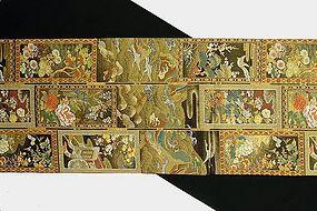 Japanese Gold Obi, Tsuzure-ori, Tapestry Weave