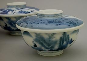 A set of Hirado Bowls with Lids- #1