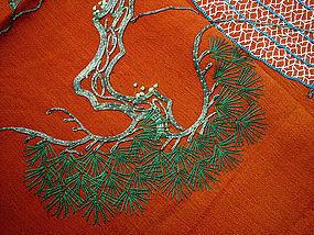 Japanese Fukusa Gift Cover, Pine Tree in Takasago