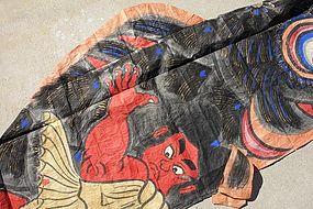 Dynamic Japanese Washi Paper Art Kinta and Carp Banner