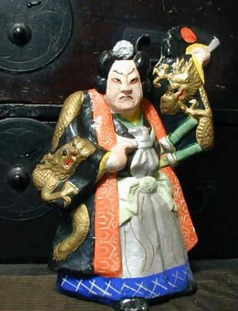 Japanese Clay Doll, Kabuki Samurai and Dragon