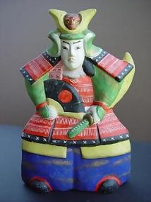 Japanese Clay Doll, Samurai Warrior in Armor