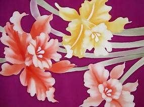 Beautiful Hand Painted Iris on Soft Silk Roll