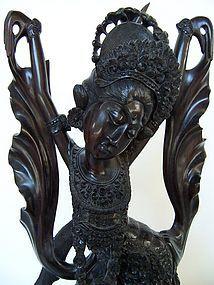 A Superb Indonesian Ebony Wood Legong Dancer Carving