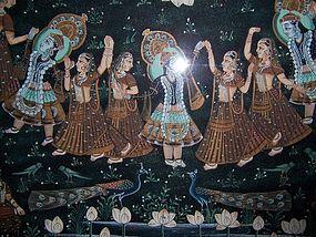 "A Fine and Large Tempura on Silk Original ""Peshawar"""