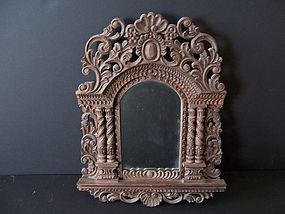 A Good Hand-Carved Peruvian Softwood Mirror from Cuzco