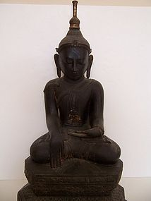 A Fine And Rare Burmese Dry Lacquer Buddha, 19th Cent