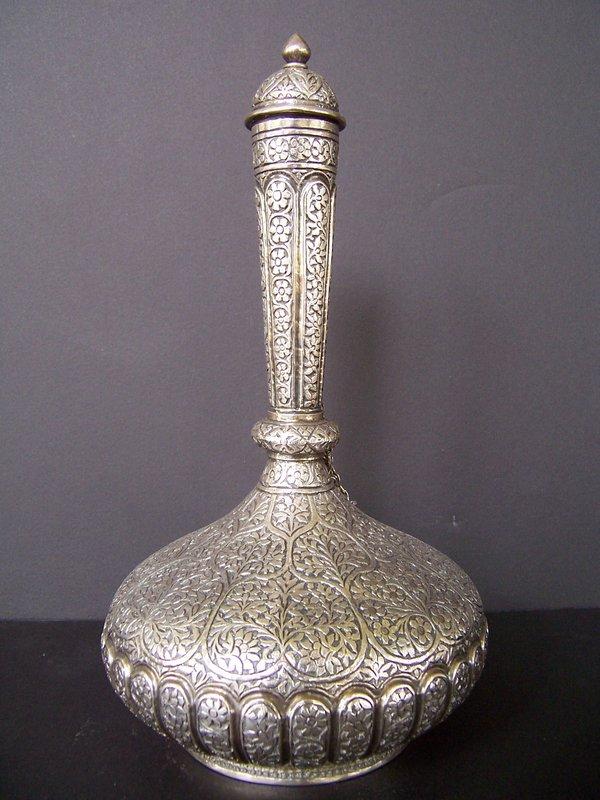 A Kashmiri Silver Surahi (water flask), 19th century