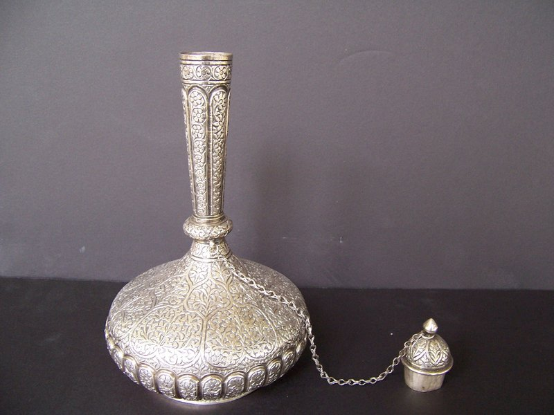 A Kashmiri Silver Surahi (water flask), 19th century