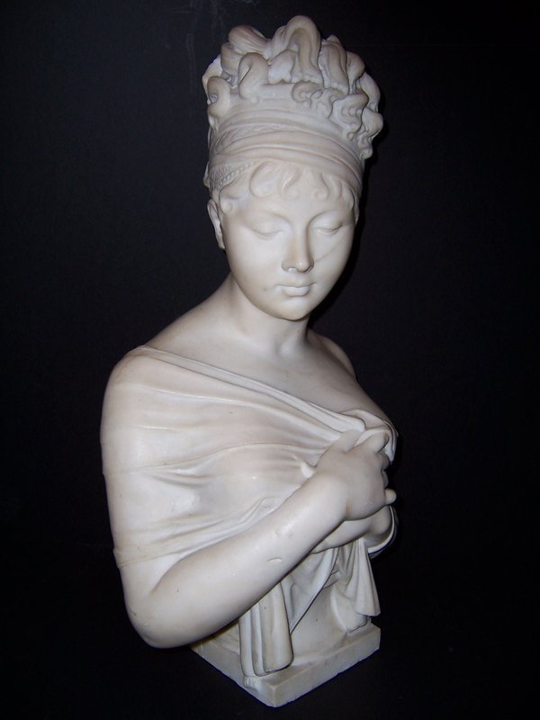 Fine Carved Marble Bust of Madame Recamier, late 19th