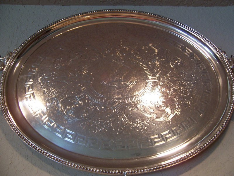 A Very Fine and Large Victorian Silver Tea Tray 1883