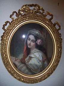 A Beautiful Mid-Late 19th Century Pastel Under Glass