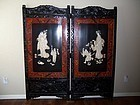 A Large Ivory Inlay Meiji Era (1868-1912) Floor Screen
